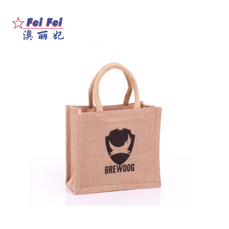 Customized logo 100% jute 6 bottles wine jute bags