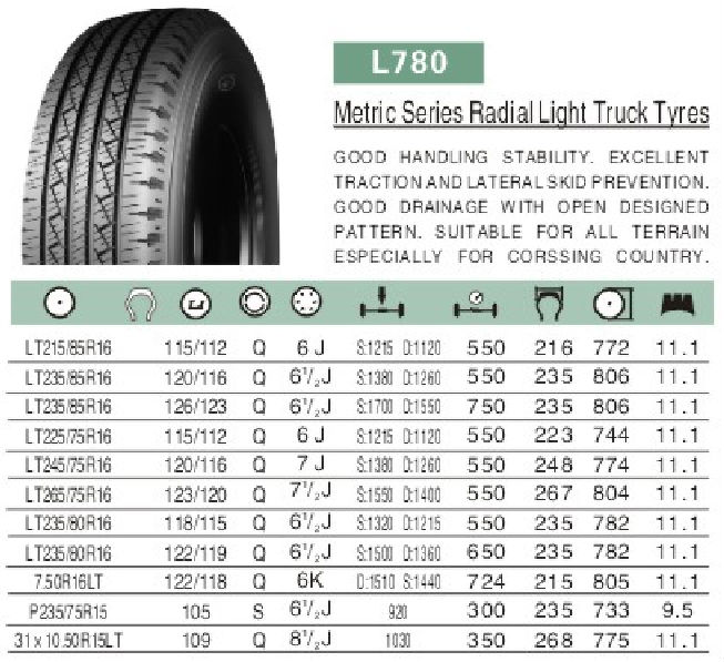Metric Series Radial linglong Light Truck Tyre LT215/85R16 LT235/85R16 LT225/75R16 760R16LT