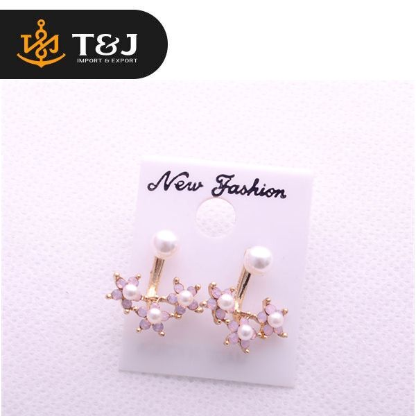 2016 New Summer Style Simulated Pearl Rhinestone Flowers Stud Earrings For Women And Girls