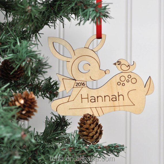 Wooden Deer Personalized Ornament Baby's First Christmas