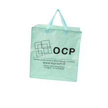 Sedex Certificate Used Recycled Laminated PP Woven Zip Tote Bag