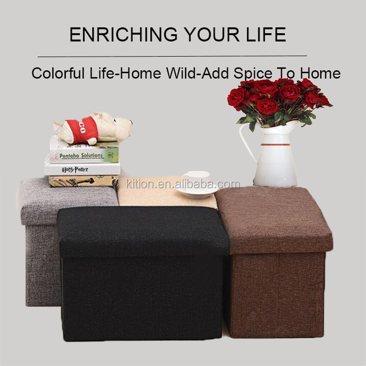 2018 Best Quality Foldable Seat Leather Ottoman