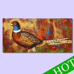 Handpainted wall art canvas abstract wild animal pheasant oil painting for home decoration