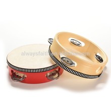 Wholesale kids wood material logo printed tambourines for sale