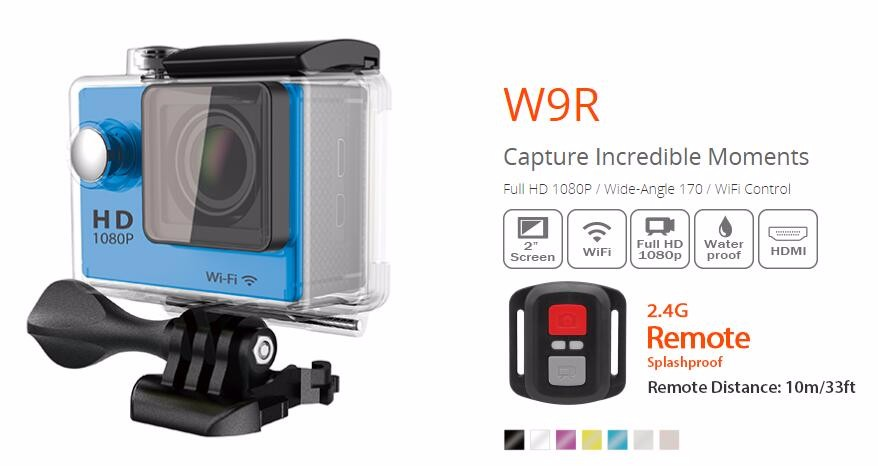 170 degree wide angel sports waterpoof wifi action camera with remoter