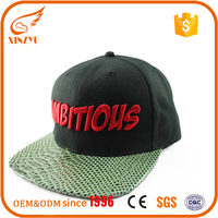 Personality snakeskin leather flat brim hats snapback cap with embroidery
