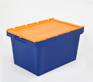 HOT heavy duty 40KG load plastic moving crates with foldable lids