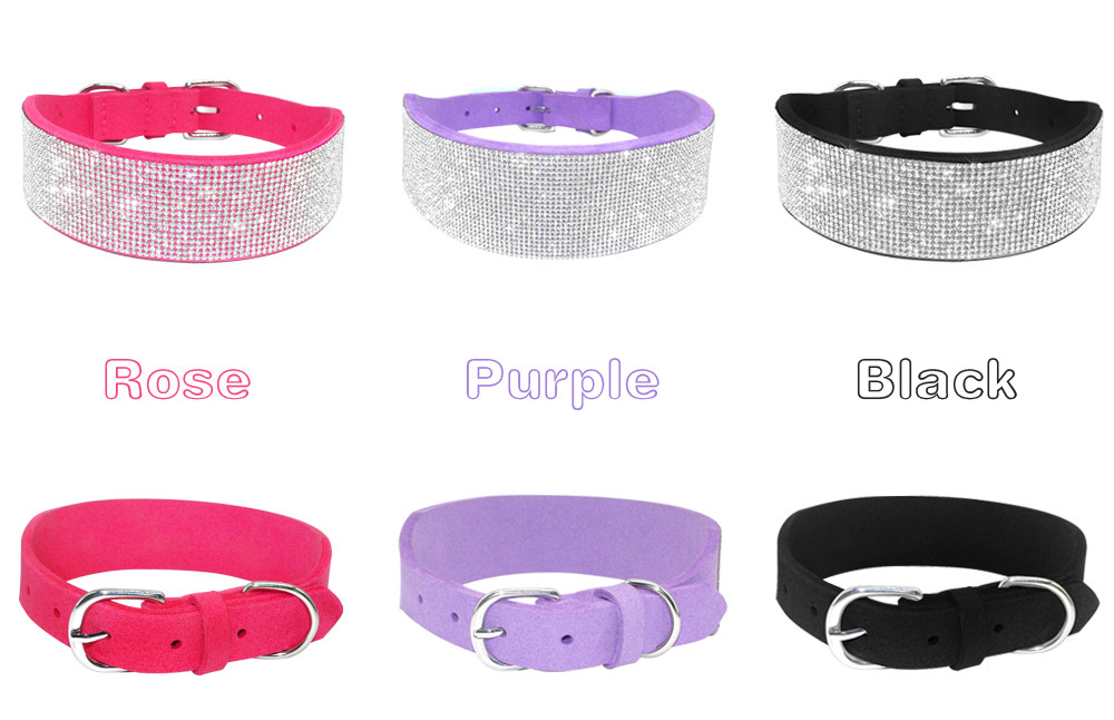 Berry Pet Soft Coral Velvet Bling Dog Collar with Rhinestone