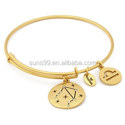 Wholesale Stainless Steel Custom Bracelet Best Gold Plated Asteria Libra Star Sign Charm Expandable Bangle With Tag