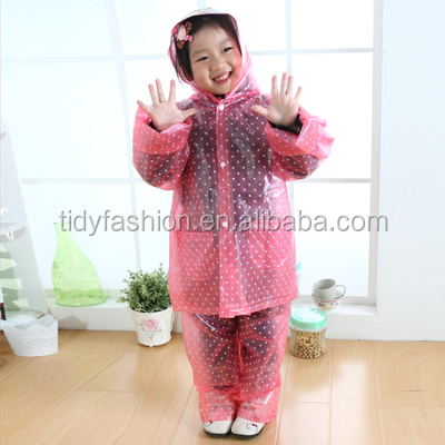 Fashion PVC Rainwear Kids Clear PVC Rain Suit