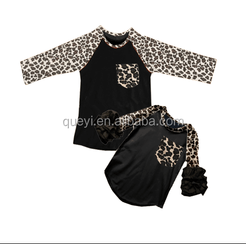 mommy and me ruffle raglan shirt leopard print fabric latest design girls top newborn baby clothes