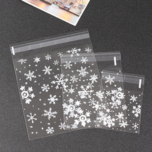 cheap Plastic Self Adhesive Seal Bags Clear Christmas Snowflake Cookie gift Bags