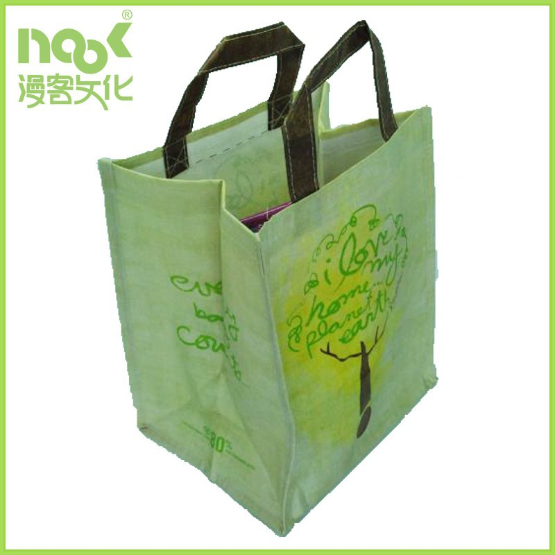 Full Colour Printed and Laminated Reusable Small Woven Shopping Bag with woven handle
