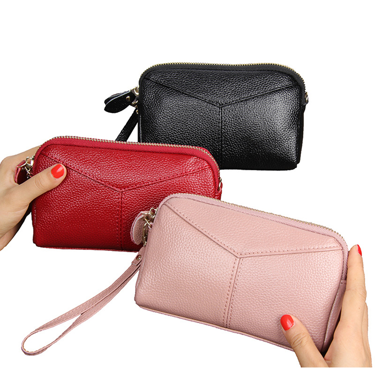 2018 trends elegance design women leather clutch bag and lady long chain handbag