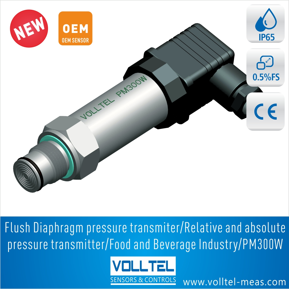 PM300 150psi/ vacuum /negative /flush diaphragm pressure transmitter