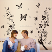 Black Butterfly Flower rattan DIY Removable Wall Stickers Living Room TV/Sofa Background Wall Stickers Mural Decal