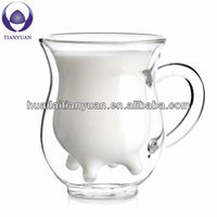 250cc lead free heat resistant safe non-toxic clear glass kids milk cup