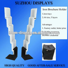 Outdoor Advertising Exhibition Heavry Iron Base A4 Cardboard Stainless Steel Brochure Holder with Oxford Cloth Bag