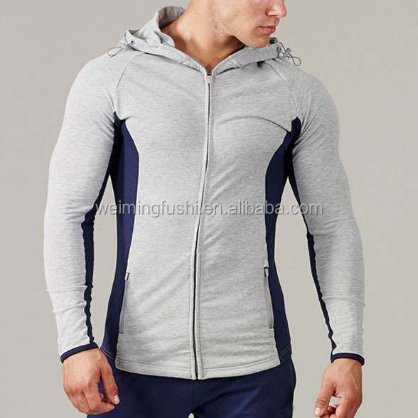 high quality sports wear men cotton spandex plain gym tracksuits