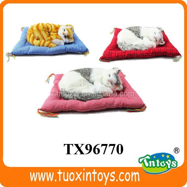 synthetic fur breathing sleeping cat toy