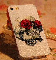 2014 gothic skull with beautiful red rose printing bling mobile phone case for samsung galaxy s3/s4/note2