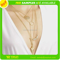 Free customed high quality crystal gold chain angel wing pendant necklace