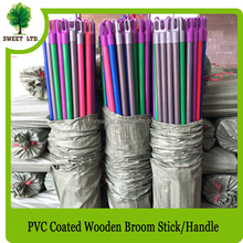 120x2.5cm PVC coated wood broom stick / straight wooden brush cleaning broom handle / sweeping brooms wood stick
