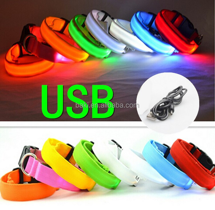 Solid Color Nylon Adjustable Night Safety Flashing Light Glowing Dog LED Collar USB