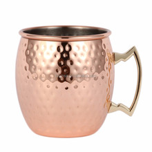 Popular Rose Gold Plating Hammered Moscow Mule Mug with brass handle