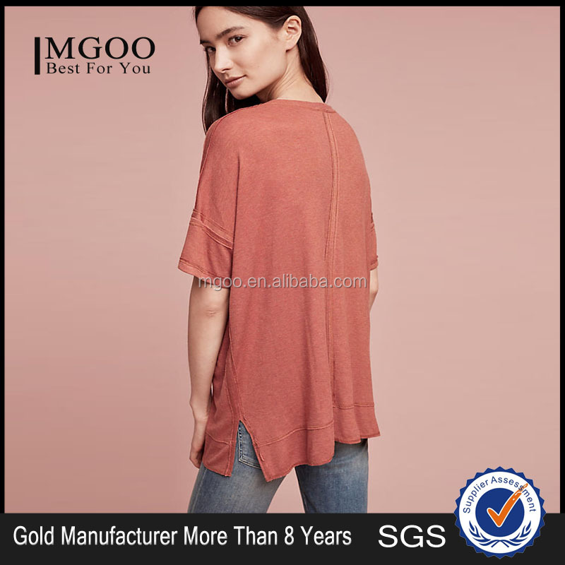 New Arrival Dolman Ribbed Top Modal Spandex Oversized Nice Sleeve Tee Shirt Custom Color Women T Shirts
