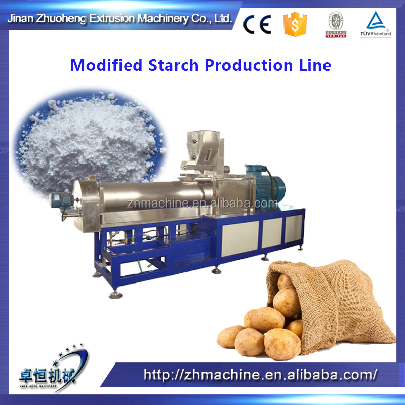 Extrusion machine for modified starches