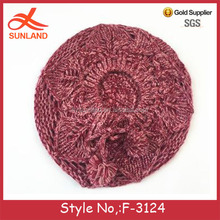F-3124 new design 2017 pink knit beret hat with string pom beanie women cute islamic kufi hat for wholesale
