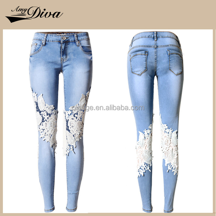 Hot sale 2016 high quality ladies jeans top design lace decorated jeans skinny ladies jeans
