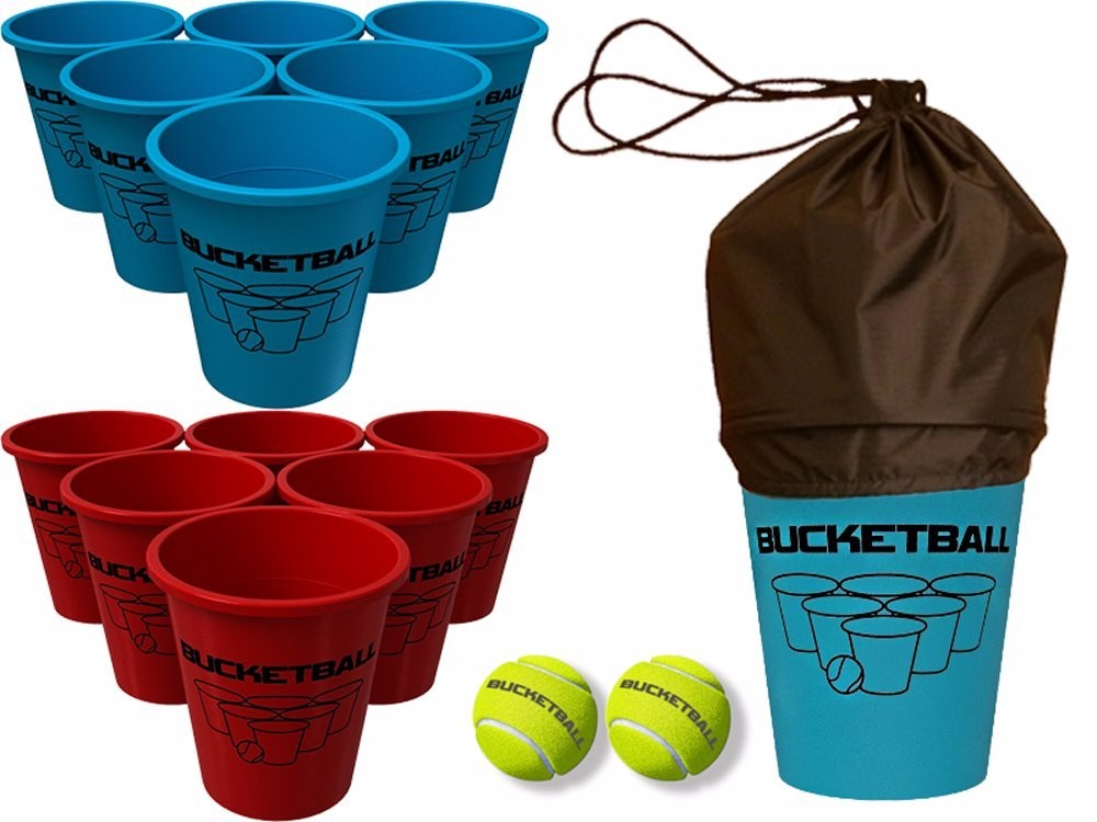 Bucket Ball Game Set ,12 Buckets, 2 Game Balls, Tote Bag and Instructions