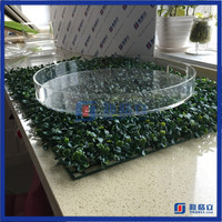 Yageli custom made high grade round acrylic candy trays / cheap clear acrylic fruit trays / round acrylic serving trays
