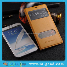 Cheap China Manufacture Window View Stand Leather Phone Cover For Samsung Galaxy Note 2 Case
