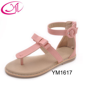 Hot sale girls flat sandals T-shape design pu material summer children shoes