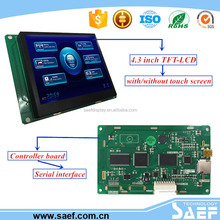 TFT Panel 4.3 inch industrial serial interface lcd display built-in MiniUSB2.0(12Mbps) / SD card optional picture downloading