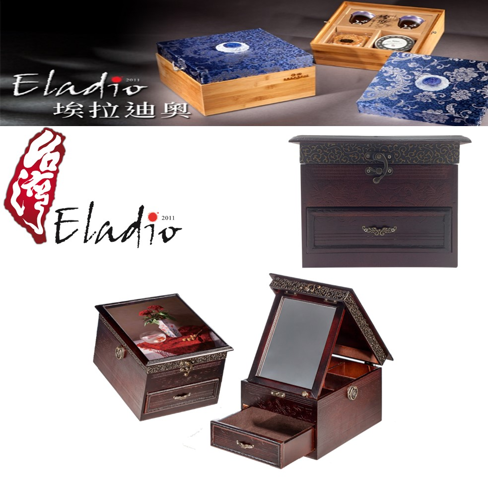 Eladio handmade wooden storage custom box and packaging with hinged lid