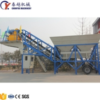 Factory Price Elba Italy Mini Portable mobile 25m3/h YHZS25 concrete mixing batching plant for sale