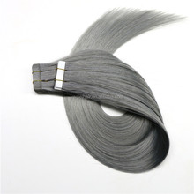 best grey color new products 2016 virgin brazilian indian remy human PU tape hair extension
