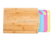 Bamboo plastic color coding chopping cutting boards 4 in 1 with drawer