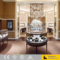Modern design jewelry store furniture manufacturing round stainless steel jewelry display showcase cabinet for sales