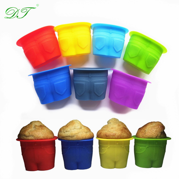 Novelty Jeans Shape Silicone Cake Molds&Muffin Tops Silicone Baking Cups&Silicone Cupcake Mould