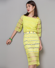 Women office dress bodysuit elegant mesh fashion style lace bodycon dresses yellow office wear unique design