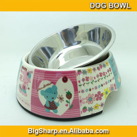 Bigsharp wholesale hygeian high quality detachable dual antiskid Stainless steel colorful bear pet bowl