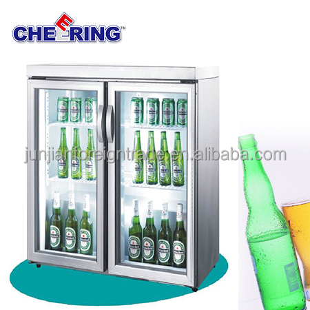 bar equipment transparent door fridge display cooler type double door single temperature stainless steel fridge
