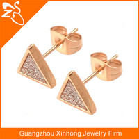 sandpaper stud earrings fashion 2013, custom 316L stainless steel earrings, rose gold triangle custom made stud earring