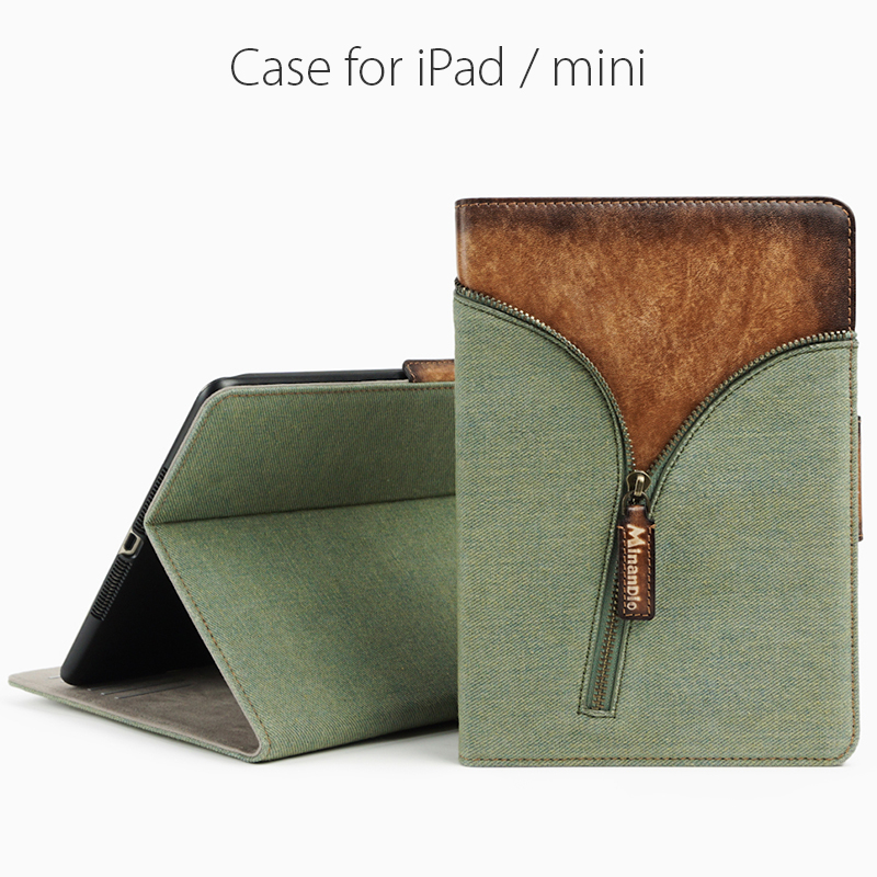Denim jean& Genuine leather tablet case / vintage style tablet/ adjustable stand function for ipad mini 3
