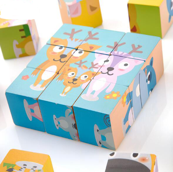children cartoon puzzle 3d wooden puzzle magic cube educational toys